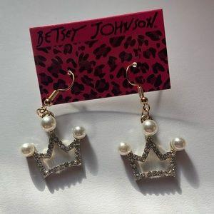 Betsey Johnson Earrings Crown Balls Gold Dangle